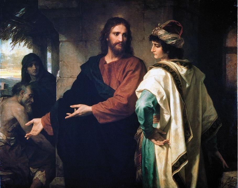 "Heinrich Hoffman 1889 ""Chrystus i bogaty młodzieniec"""