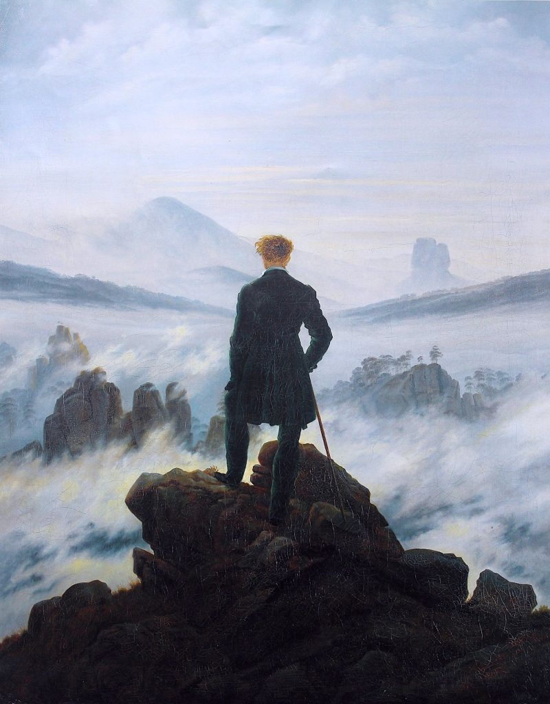 Caspar David Friedrich- Wędrowiec ponad morzem mgły